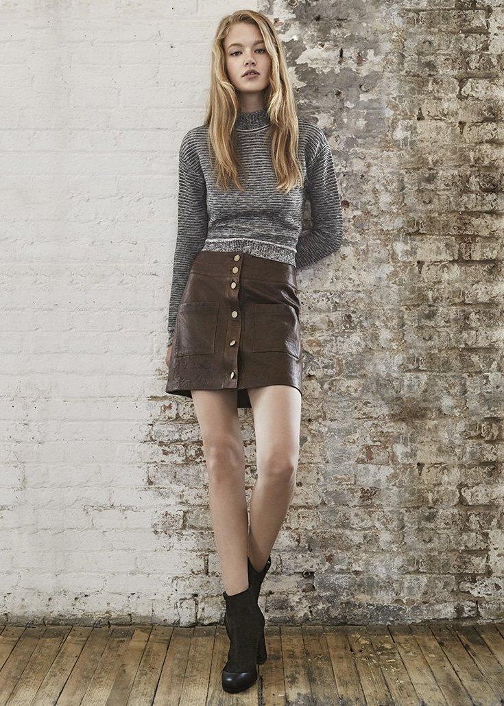 Veronica Beard Patrol Leather Miniskirt