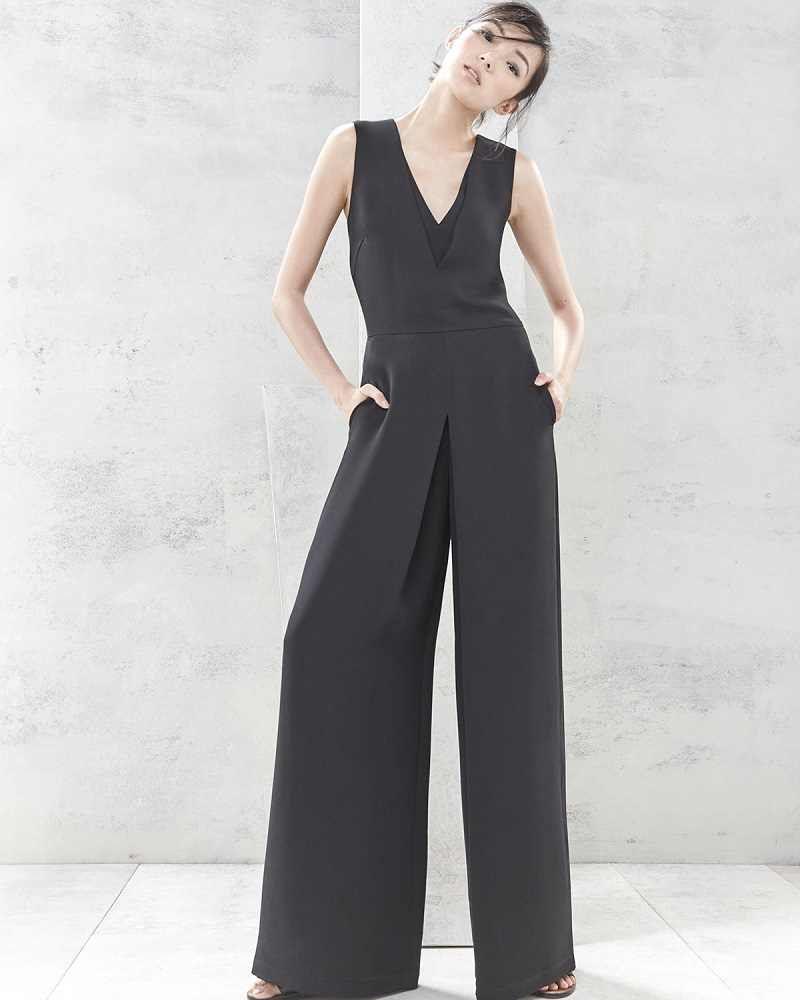 Vince Double-V Solid Jumpsuit