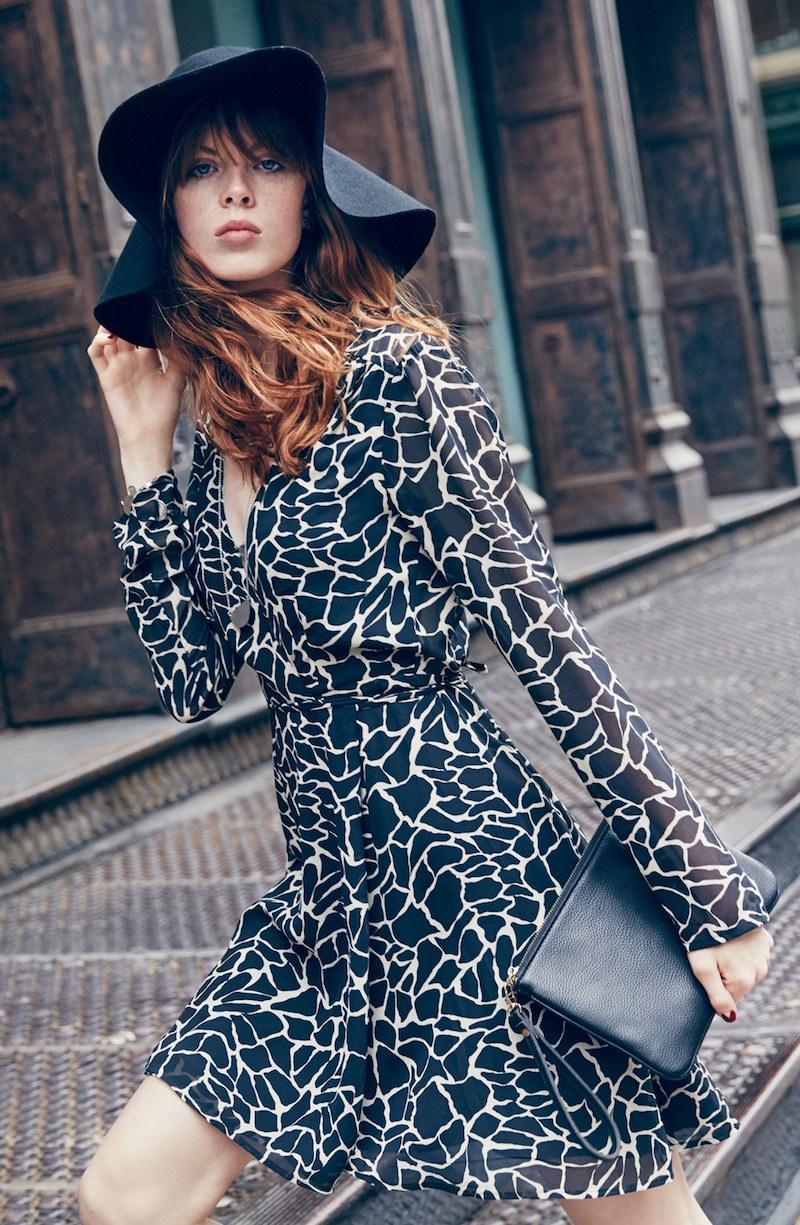 Wayf Animal Print Wrap Dress