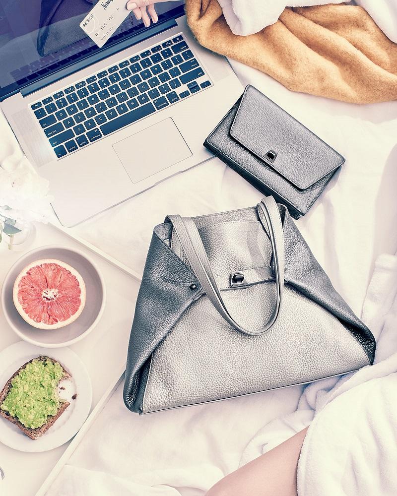 Akris Ai Small Cervo Tote Bag & Anouk Leather Clutch Bag