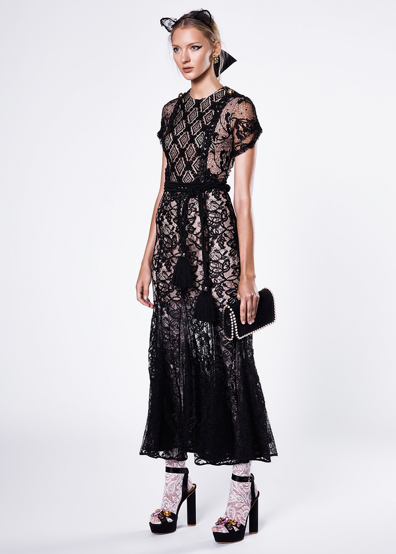 Alessandra Rich Patchwork Lace Dress