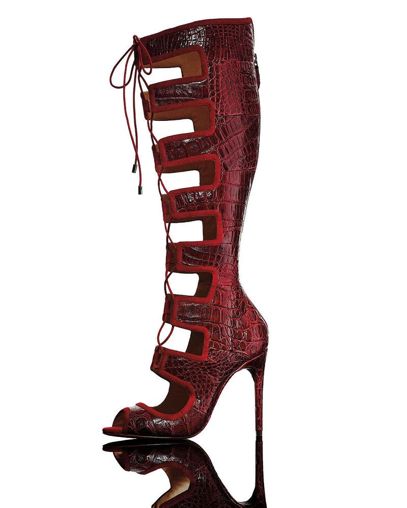 Alexandre Birman Caryne Crocodile Lace-Up Gladiator Sandal