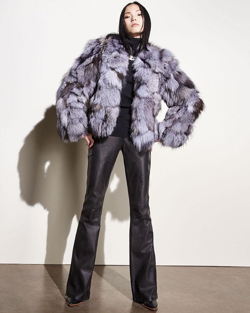 Alice + Olivia Graye Open-Front Fox-Fur Coat