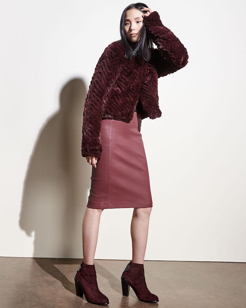 Alice + Olivia Marlene Zigzag Rabbit-Fur Coat