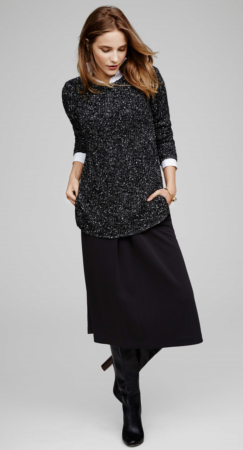 Ann Taylor Speckled Crew Neck Sweater