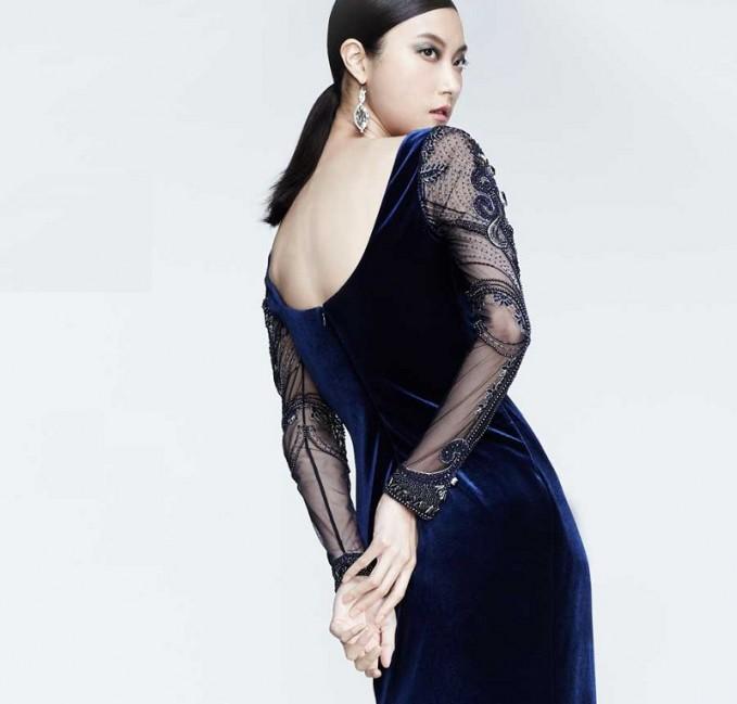 Badgley Mischka Beaded-Long-Sleeve Velvet Gown-