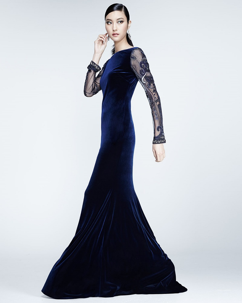 Badgley Mischka Beaded-Long-Sleeve Velvet Gown