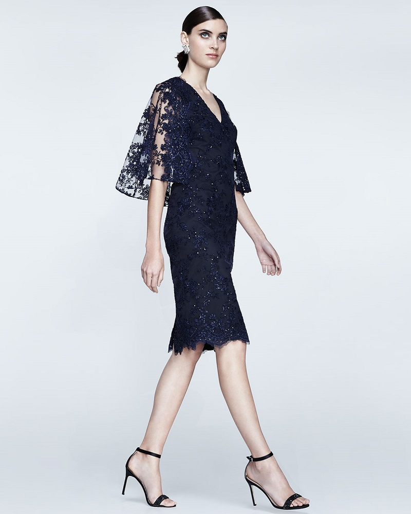 Badgley Mischka Lace Cape Sheath Cocktail Dress