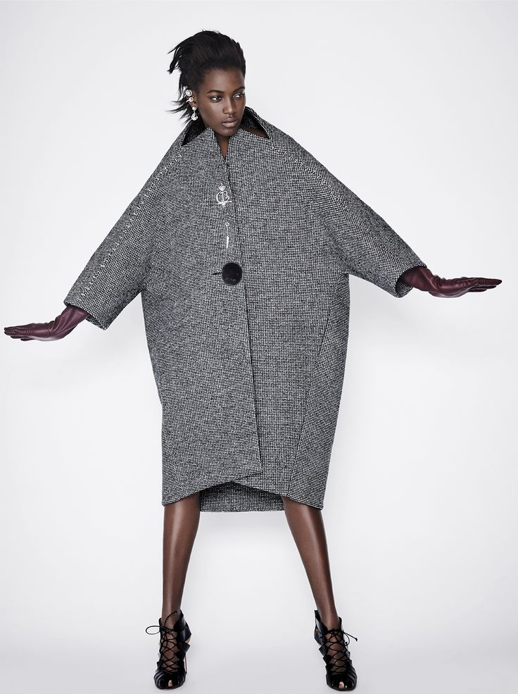 Balenciaga Mini hound's-tooth wool-blend cocoon coat