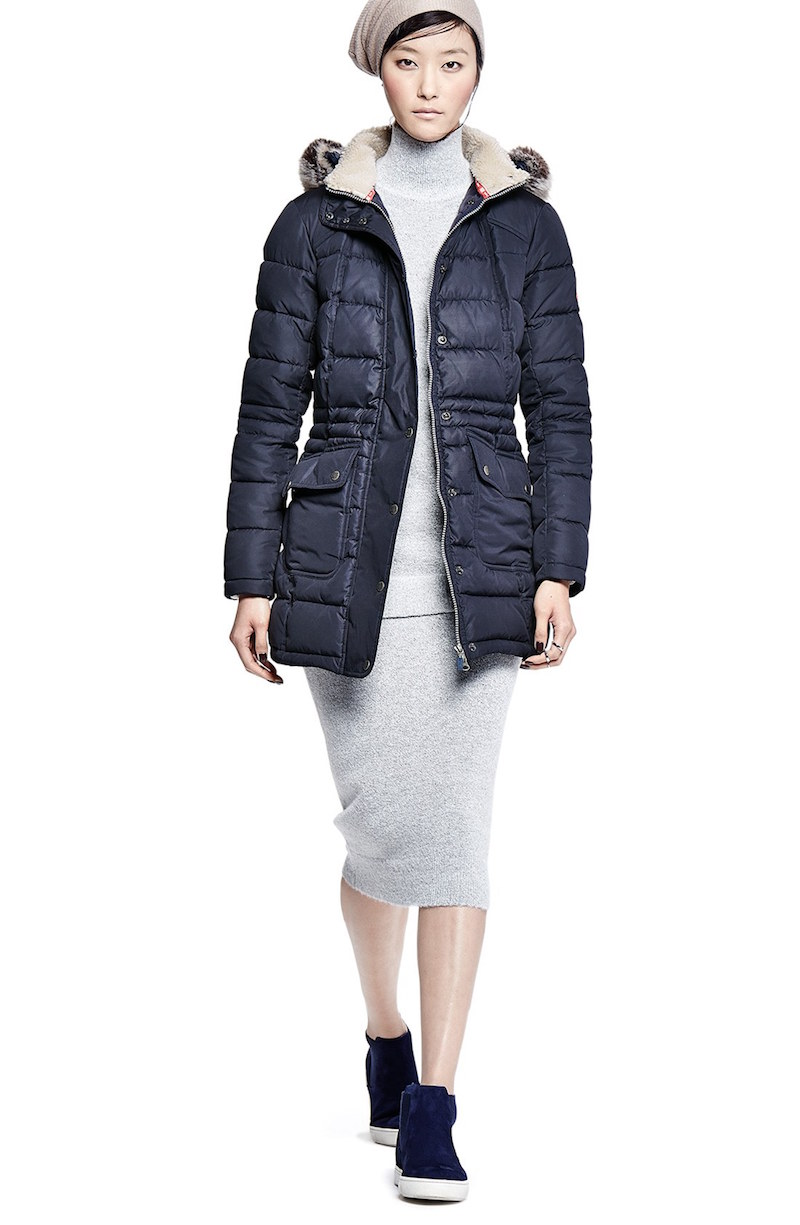 Barbour Quilted Long Jacket with Faux Fur Trim