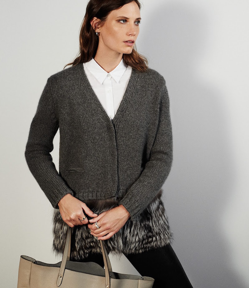 Barneys New York Fur & Cashmere Cardigan