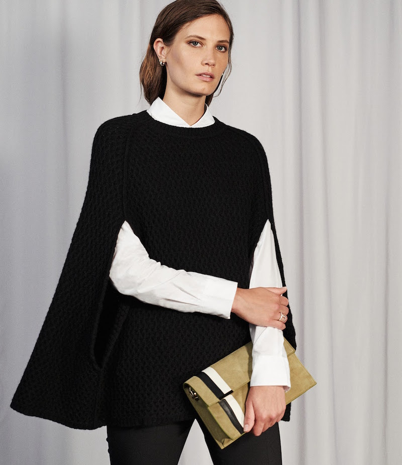 Barneys New York Honeycomb-Stitched Cashmere Poncho