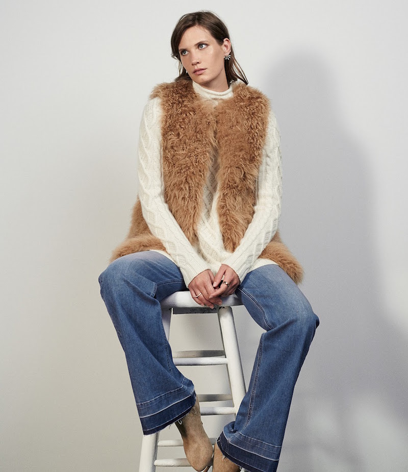 Barneys New York Lamb Fur Long Vest