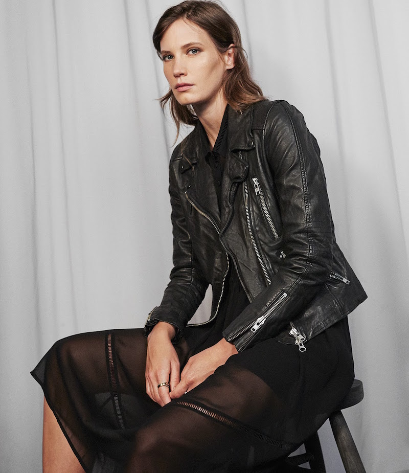 Barneys New York Leather Quilted-Yoke Moto Jacket