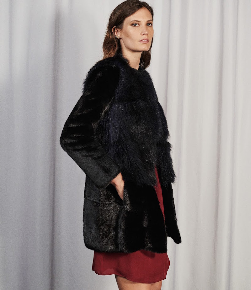 Barneys New York Mink & Raccoon Fur Coat