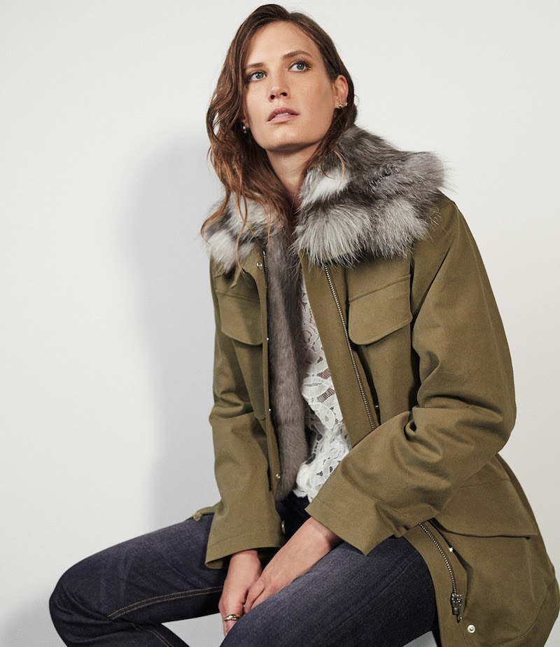 Barneys New York Sueded Canvas Jacket With Fur Vest & Collar