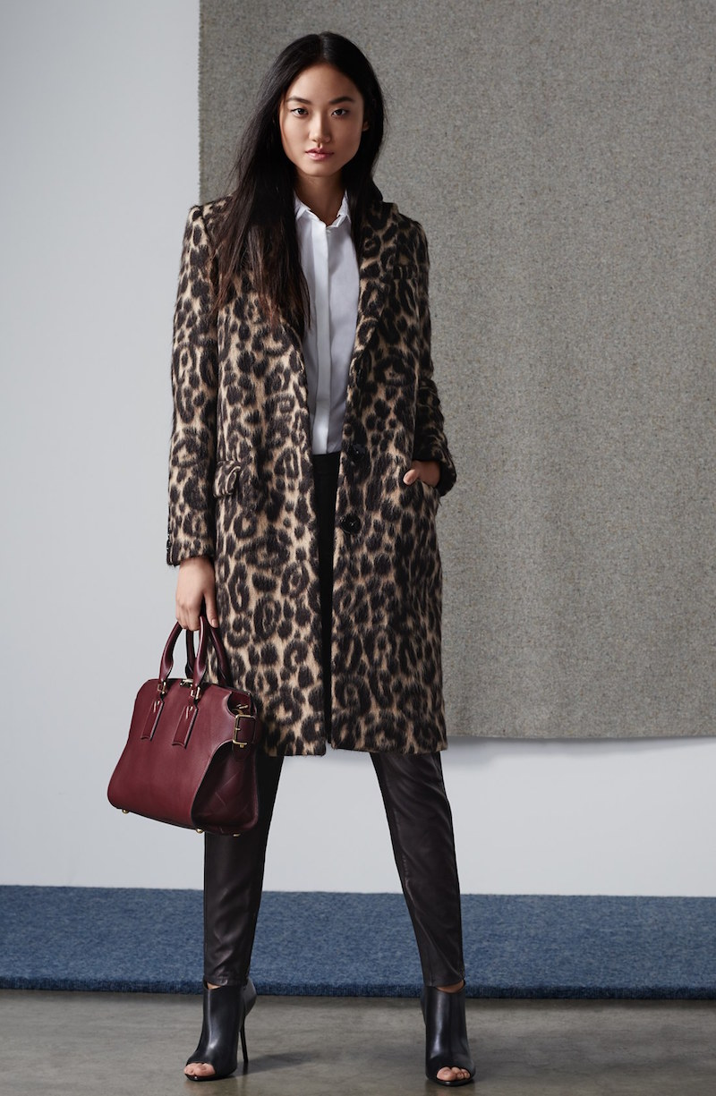 Burberry London Croasdale Leopard Print Wool & Alpaca Reefer Coat