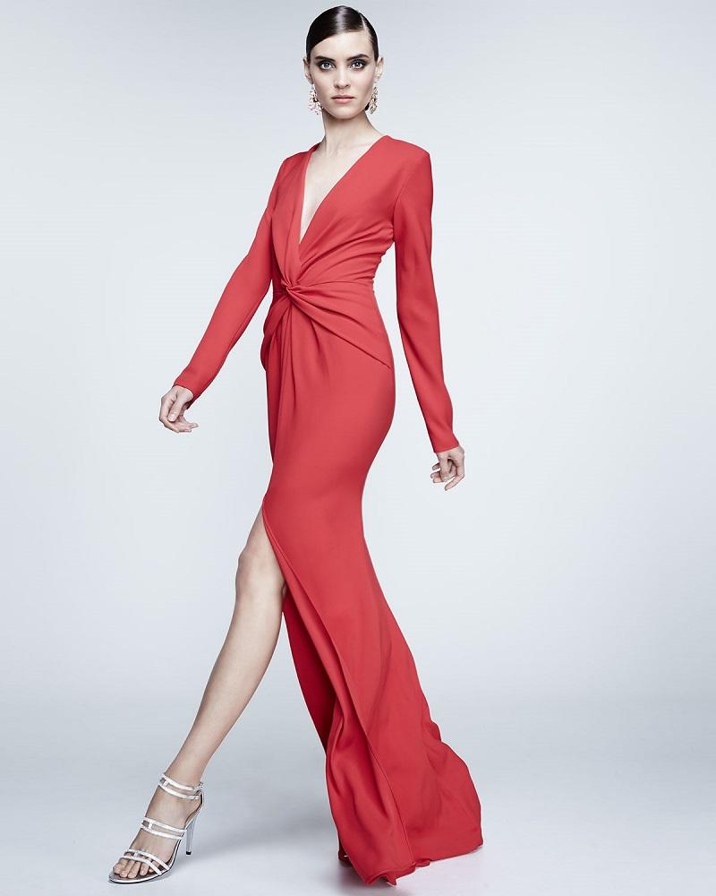 Carmen Marc Valvo Long-Sleeve Front-Twist Gown