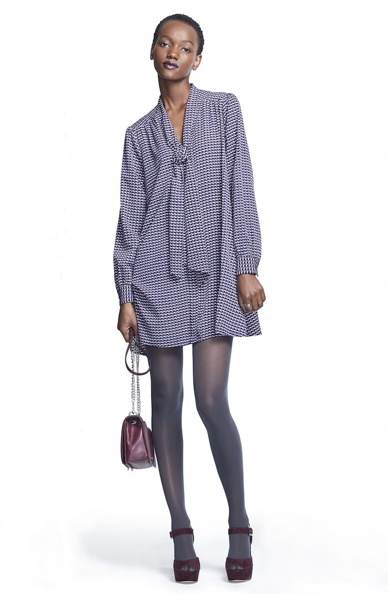 CeCe by Cynthia Steffe Aleah Tie Neck Crêpe de Chine Shirtdress