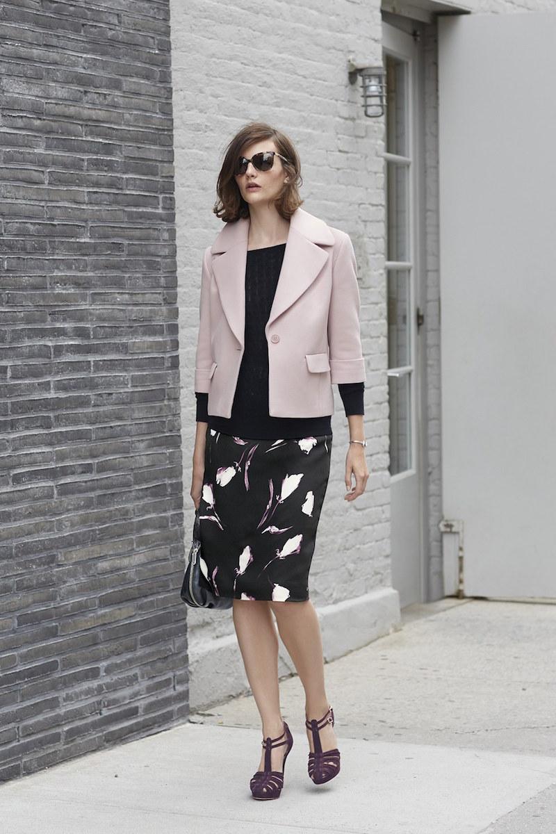 Classiques Entier Stella Floral Print Silk Pencil Skirt
