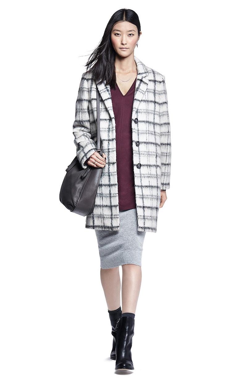 DKNY Notch Collar Plaid Reefer Coat