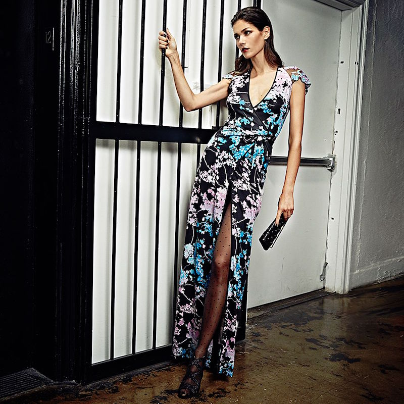 Diane von Furstenberg Embroidered Printed-Silk Wrap Gown