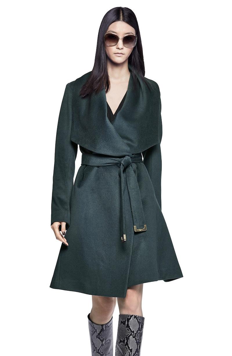 Diane von Furstenberg Harlow Drape Collar Wool Blend Wrap Coat