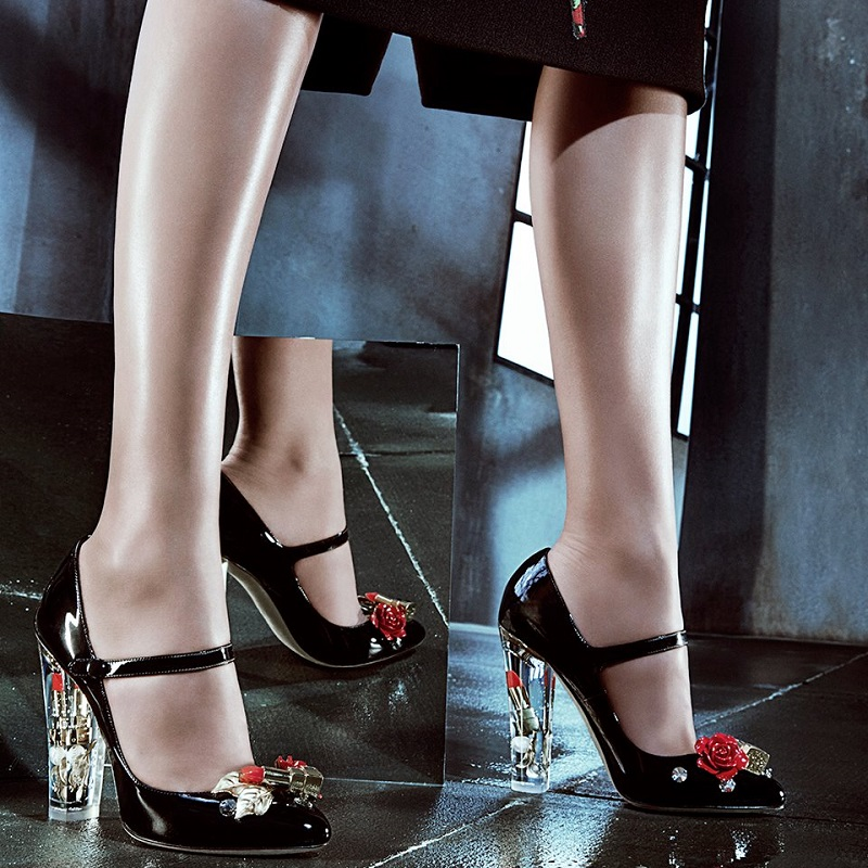 Dolce & Gabbana Lipstick-Heel Patent Leather Mary Jane Pumps