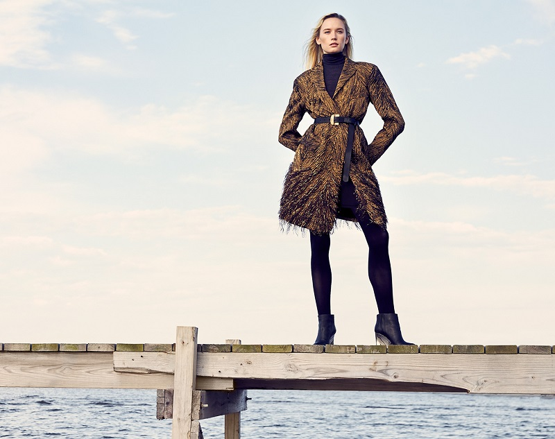 Donna Karan Fringe-Hem Belted Coat