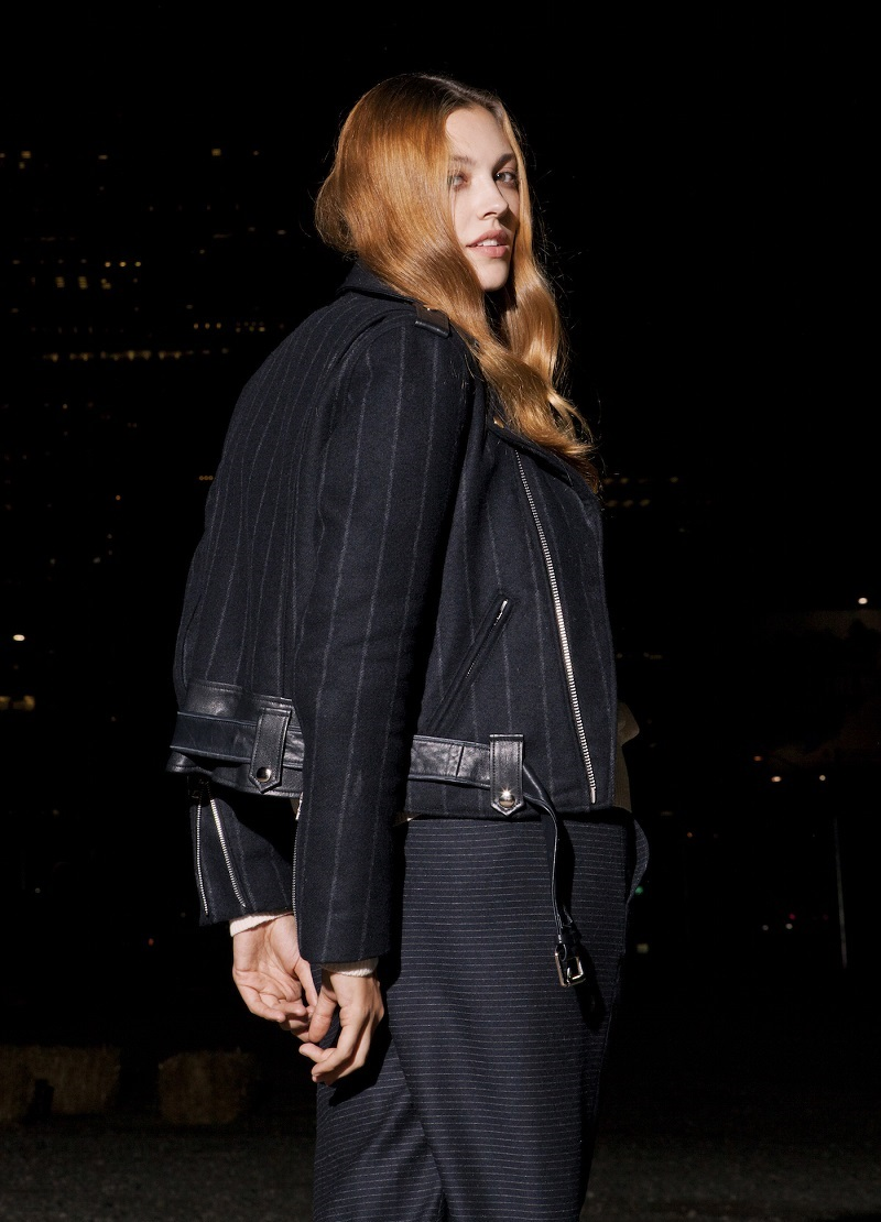 EACH X OTHER Pinstriped Flannel & Leather Moto Jacket