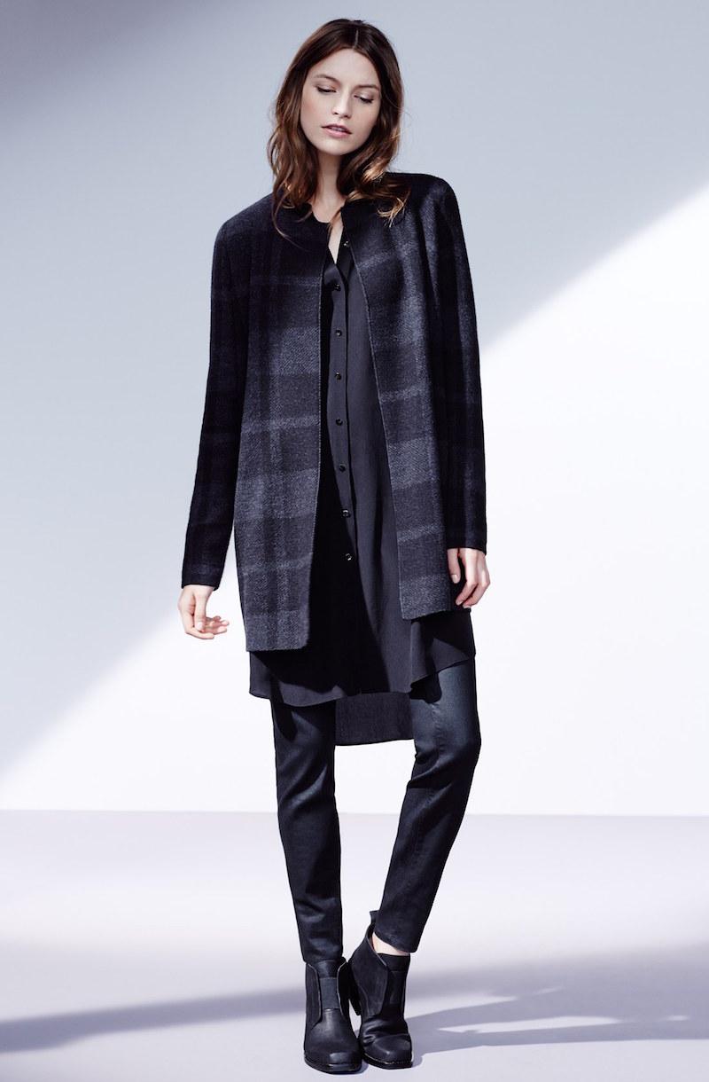 Eileen Fisher Mandarin Collar Silk Tunic Dress