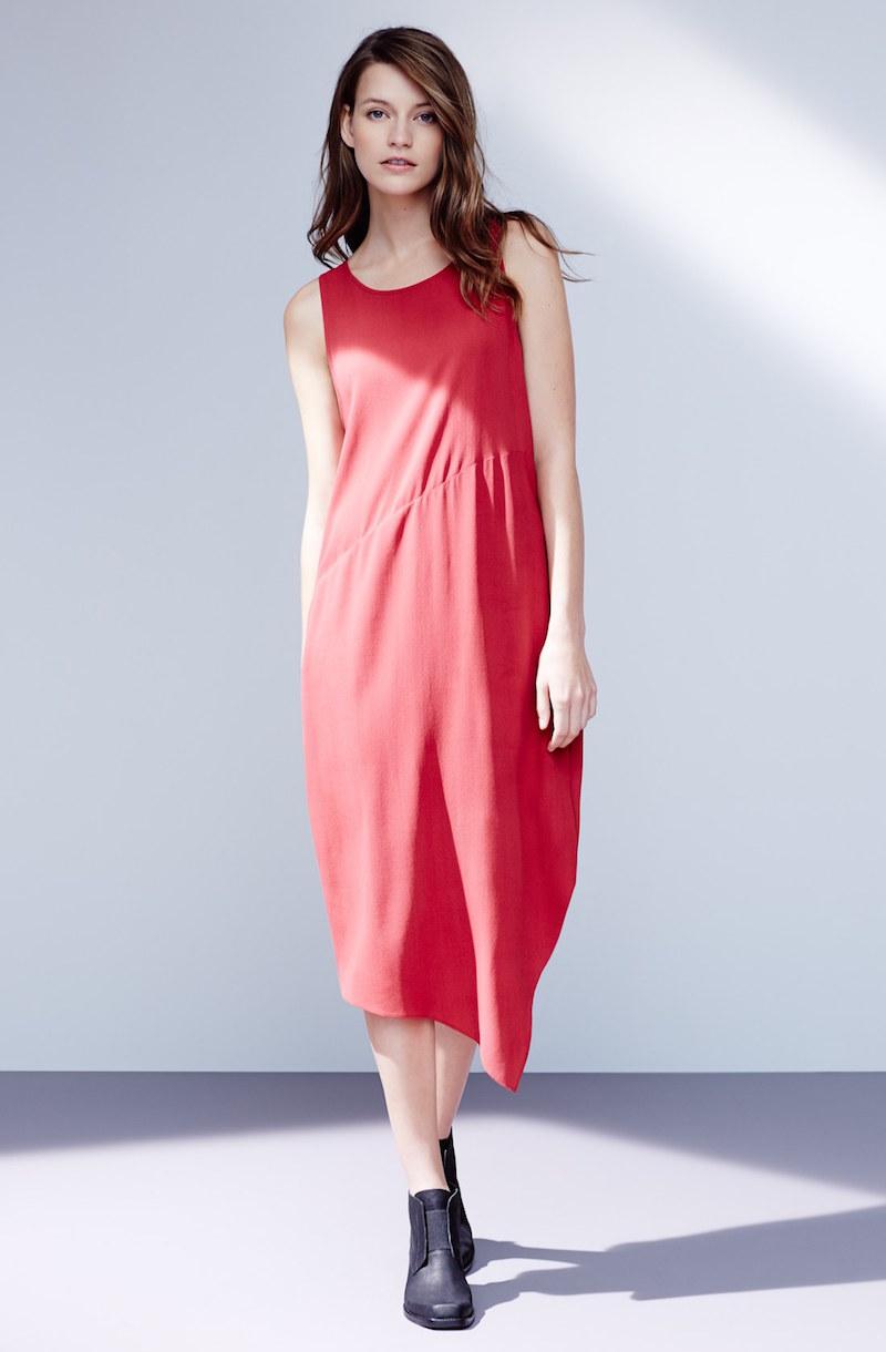 Eileen Fisher Silk Crepe Asymmetrical Hem Dress