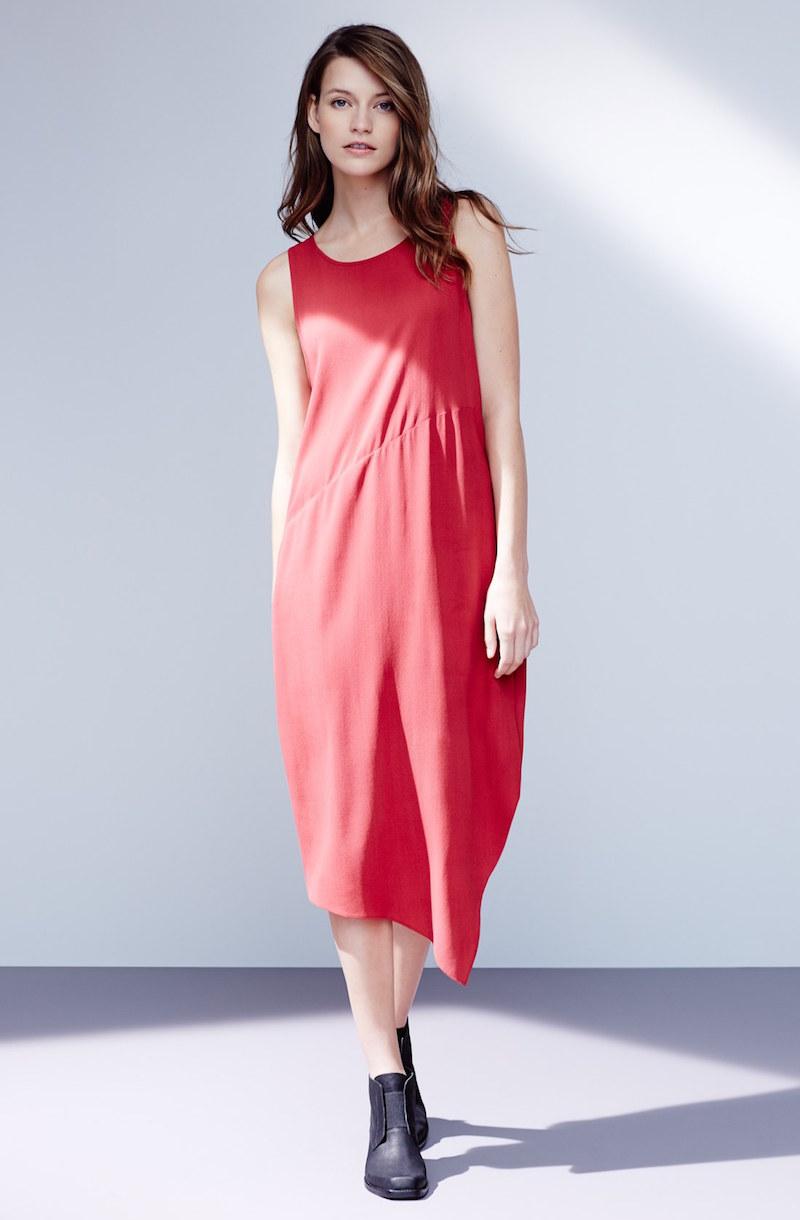 Eileen Fisher Silk Crepe Asymmetrical Hem Dress