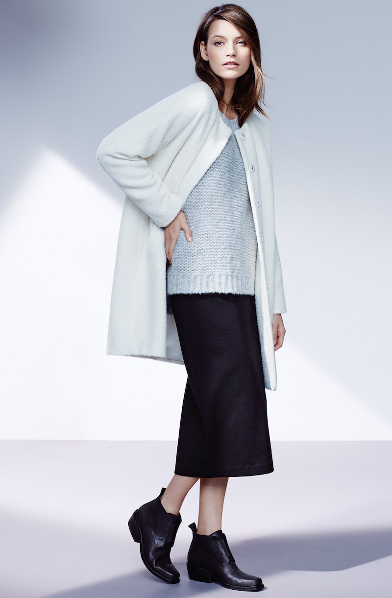 Eileen Fisher Wool & Alpaca Blend Collarless Coat