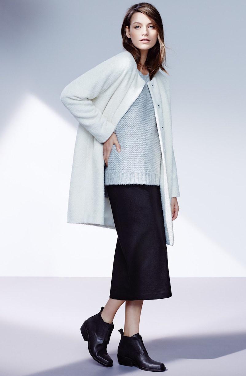 Eileen Fisher Wool & Alpaca Blend Collarless Coat