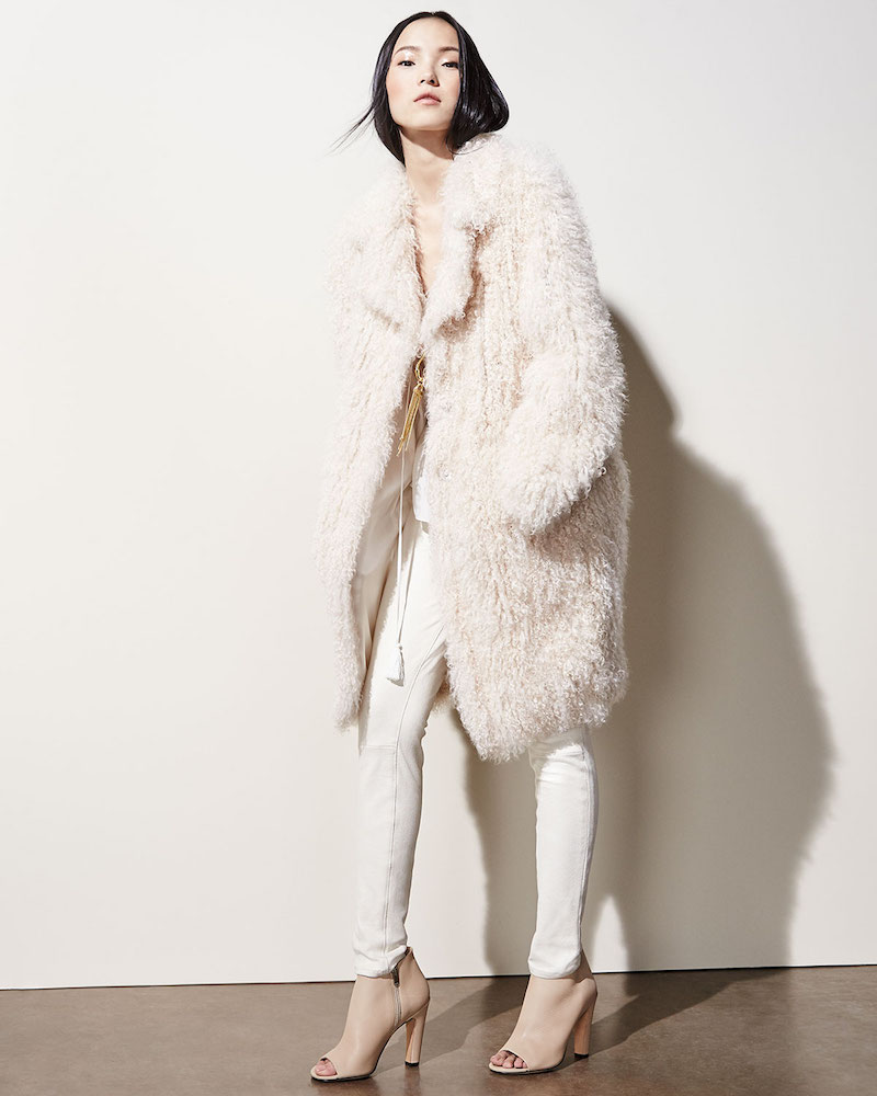 Elizabeth and James Hart Long-Sleeve Shearling Fur Coat