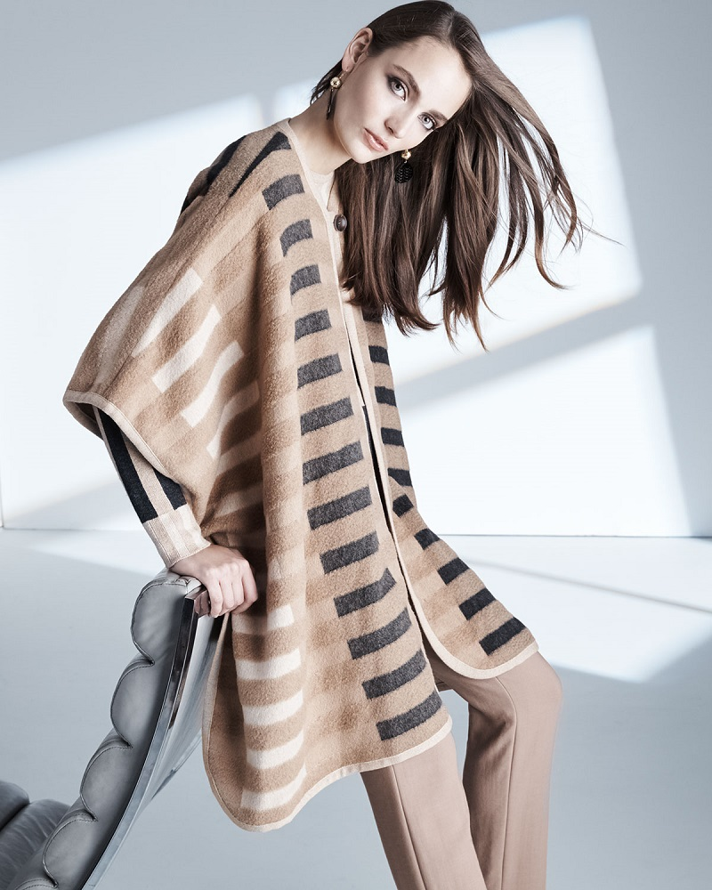 Escada Mixed-Tone Striped Blanket Cape