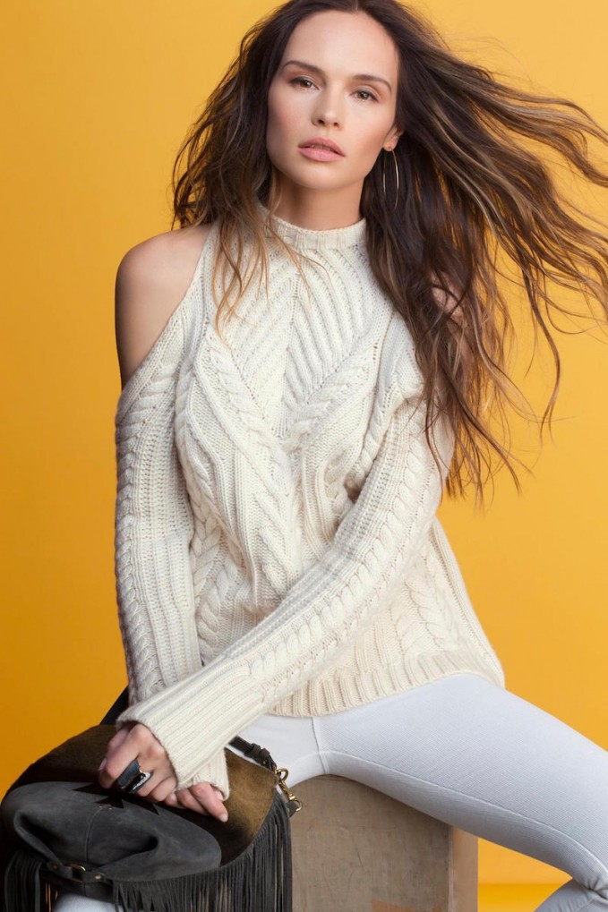 Exclusive for Intermix Cold Shoulder Cable Knit Sweater