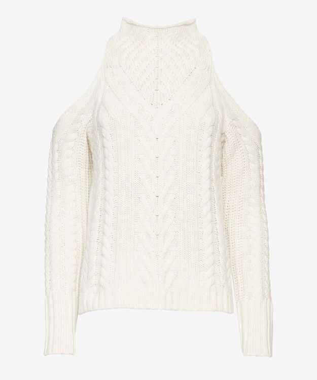 Exclusive for Intermix Cold Shoulder Cable Knit Sweater_1