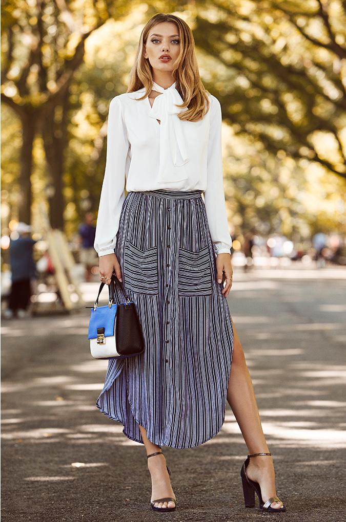 FAITHFULL THE BRAND Audrey Macgraw Stripe Maxi Skirt