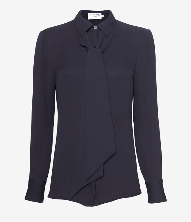 FRAME Neck Tie Collared Blouse_1