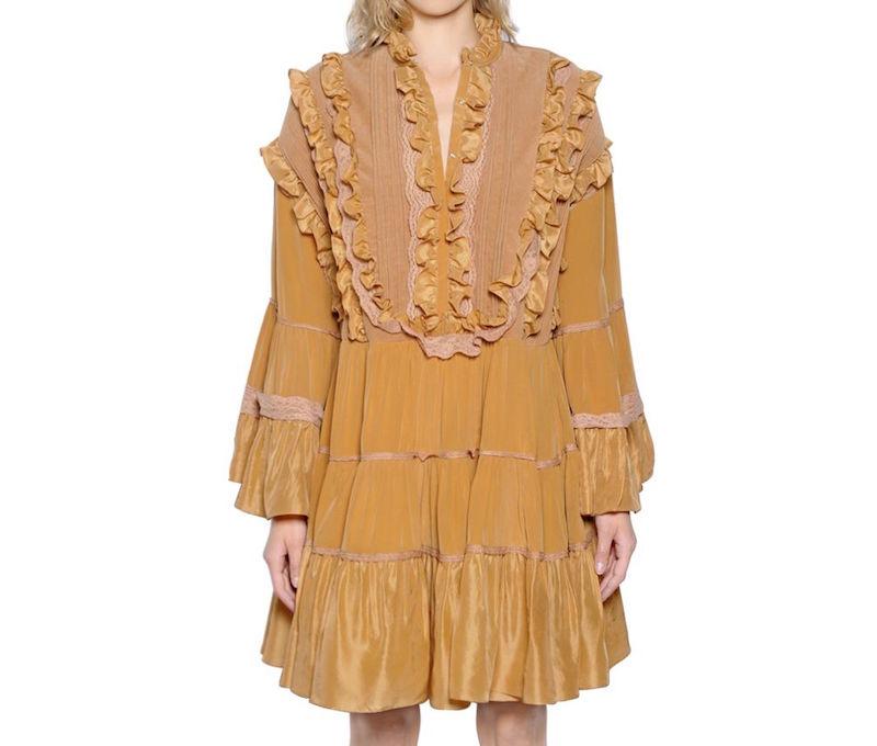 Faith Connexion Ruffled Washed Silk & Velvet Dress_1