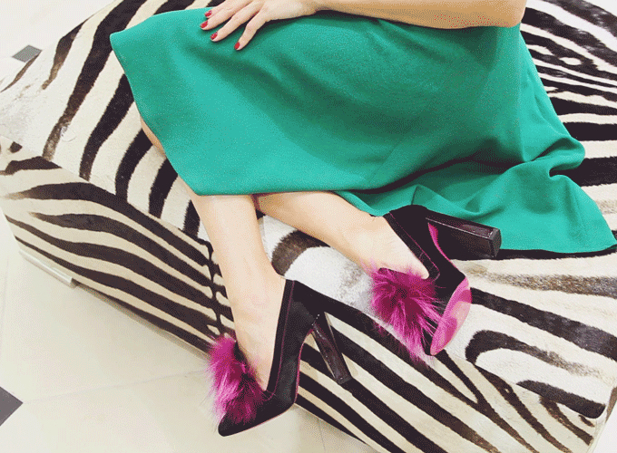 Fendi Fox Fur & Calf Hair Loafer Pumps