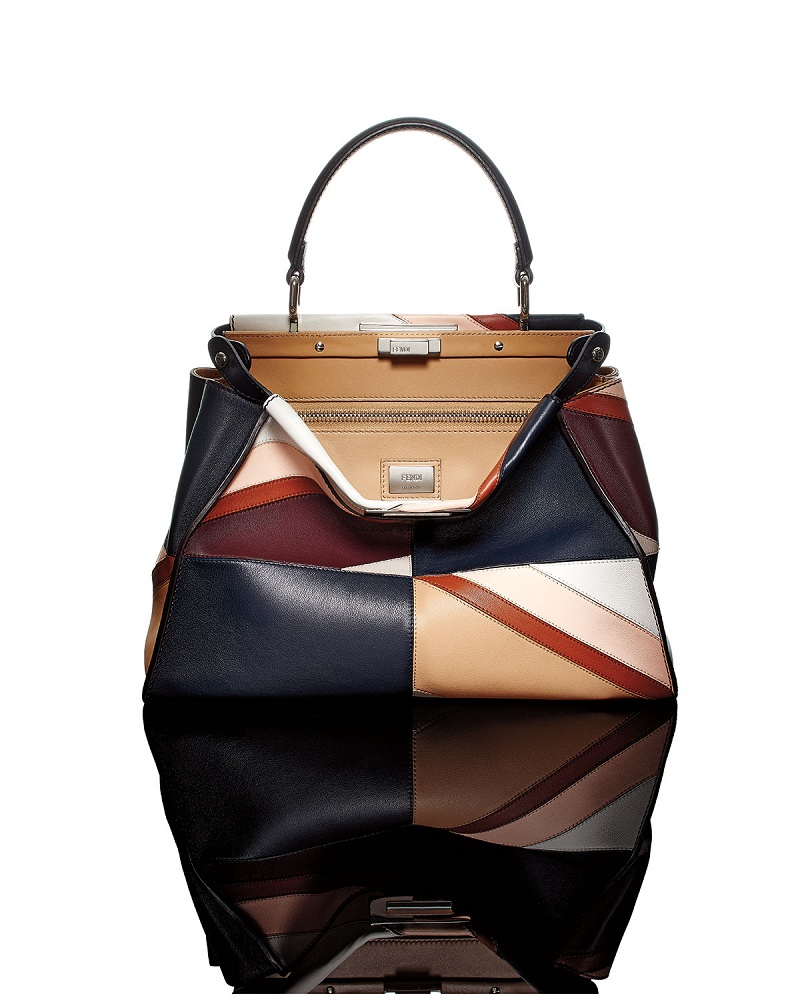Fendi Peekaboo Medium Patchwork Marquetry Calf Bag