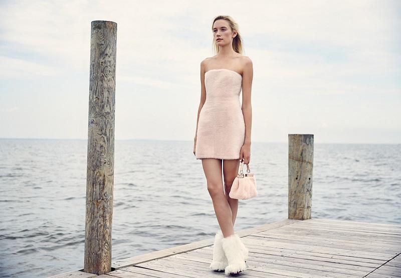 Fendi Strapless Shearling Dress