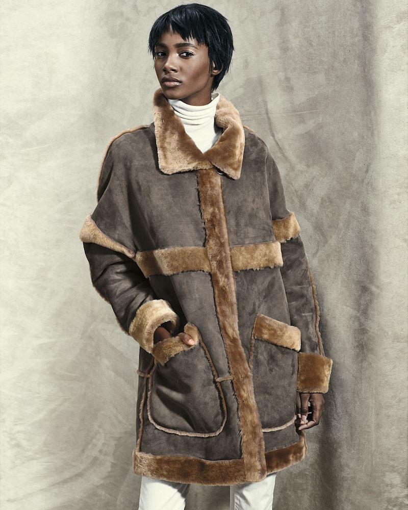 Goes Fur-Trim Snap Front Coat