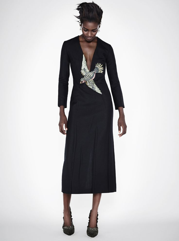 Gucci Bird-embroidery silk gown