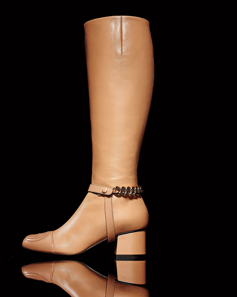 Gucci Soho Chained Leather Knee Boot