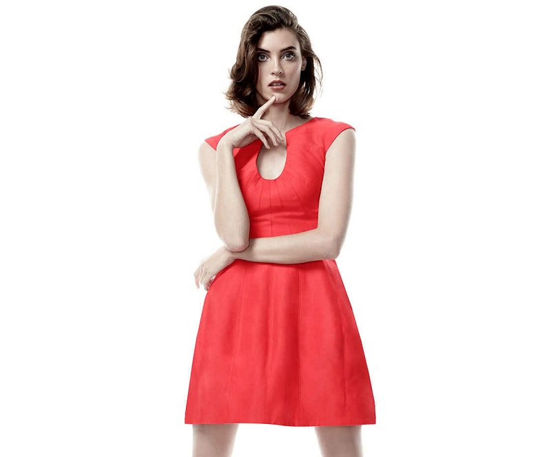 Halston Heritage Cap-Sleeve Bubble-Skirt Cocktail Dress
