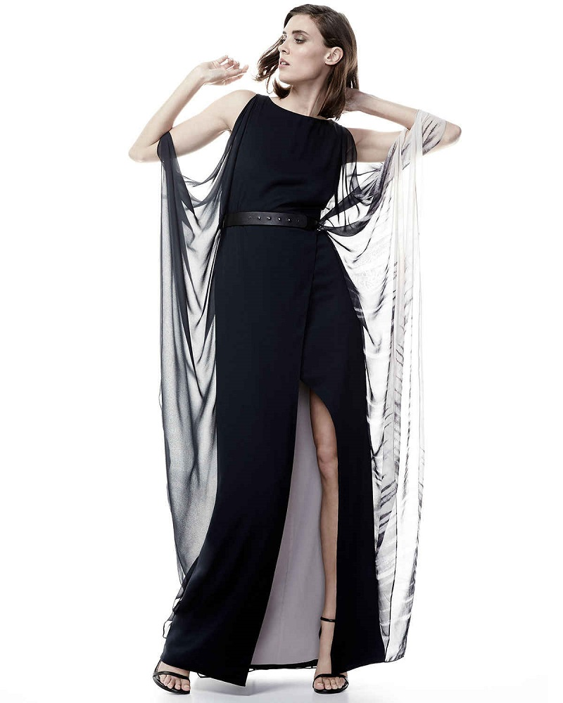 Halston Heritage Cold-Shoulder Ombre Caftan Gown